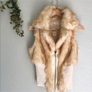 ARDEN B Faux Vegan Fur Ivory Tan Vest Size Small